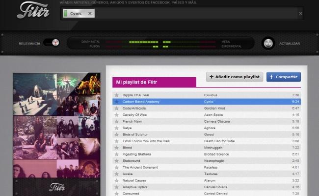 Filtr en Spotify