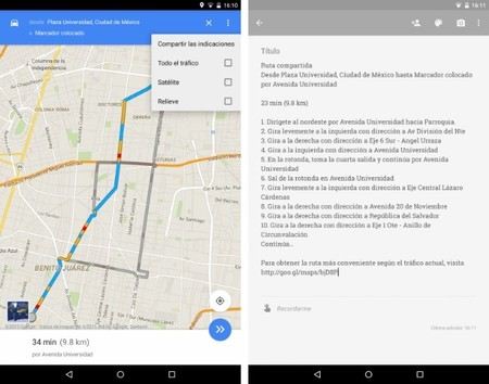 Google Maps 9.3 Compartir