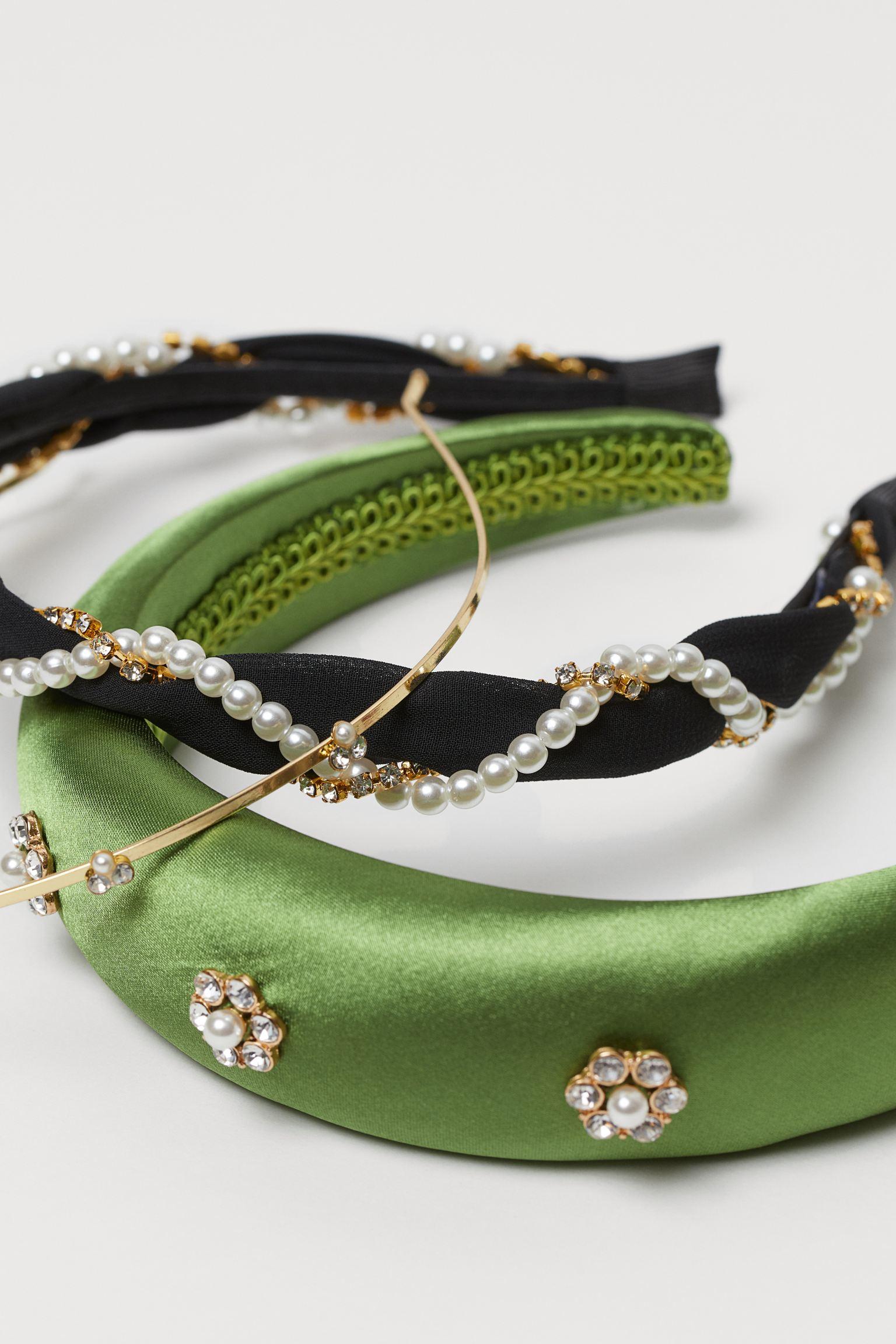 Pack de tres diademas de fiesta con cristales y perlas