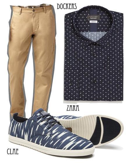 azul marino look estampado camisa