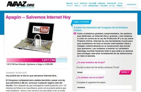 Firmas contra la #SOPA en Avaaz: ahora mismo van por 1,6 millones...