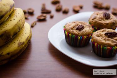 Muffins de plátano y nuez. Receta