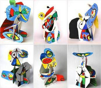 Unas manualidades muy artísticas: figuras de Miró en 3D