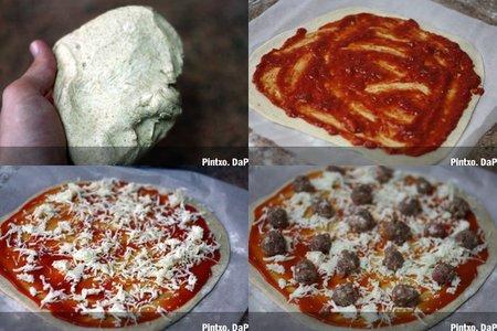 Pizza de albóndigas. Pasos
