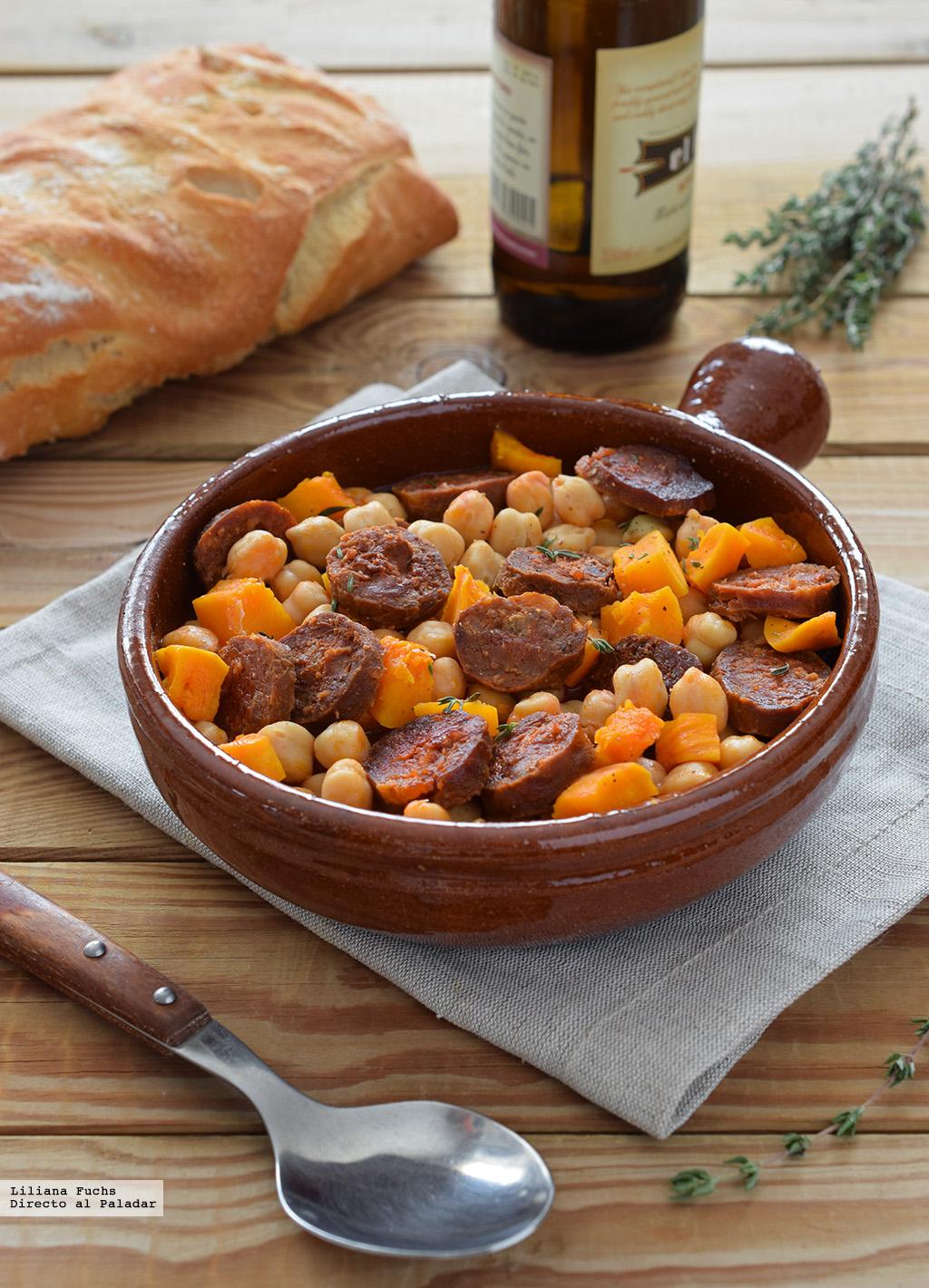 Garbanzos con chorizo a la sidra y calabaza receta de for Cocinar garbanzos con chorizo