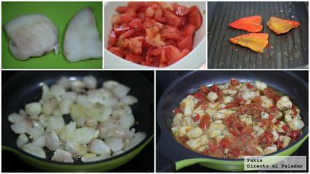 Rape con tomates y pimiento paso a paso