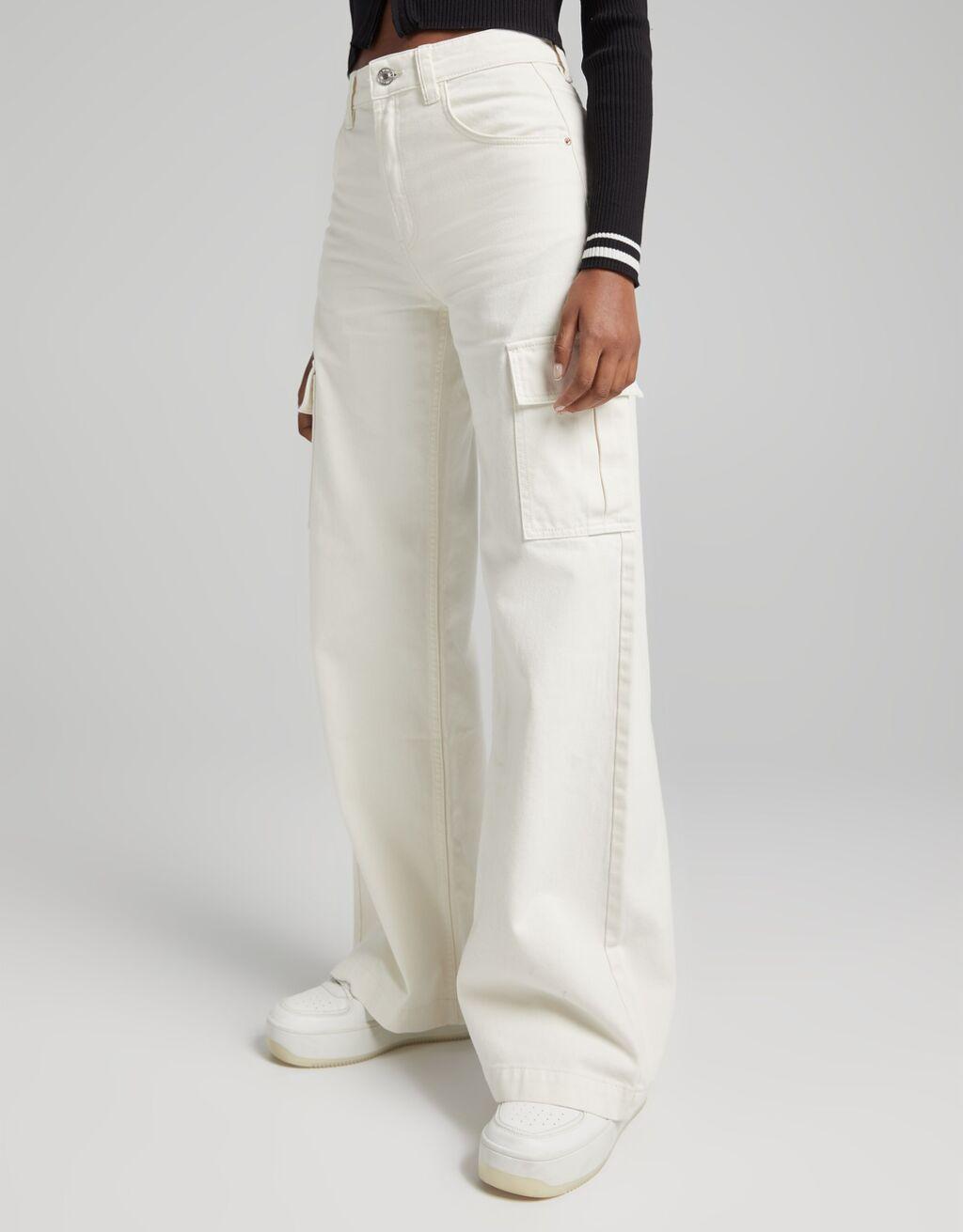 Pantalón sarga wide leg cargo