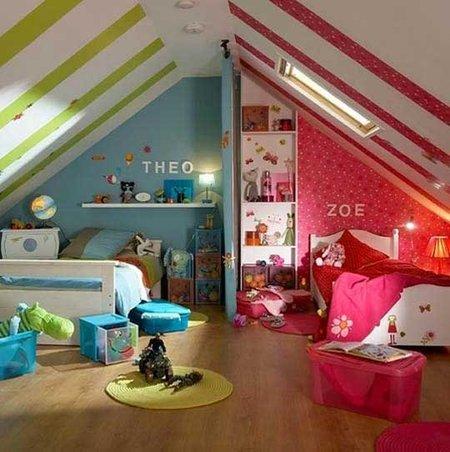 Cómo separar ambientes con color en un dormitorio infantil