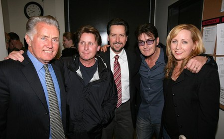 Martin Sheen con sus hijos: Emilio Estevez, Ramon Estevez, Charlie Sheen y Renee Estevez