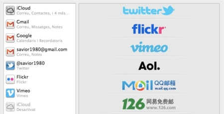 Integración de OS X Mountain Lion con Twitter, Flickr y Vimeo