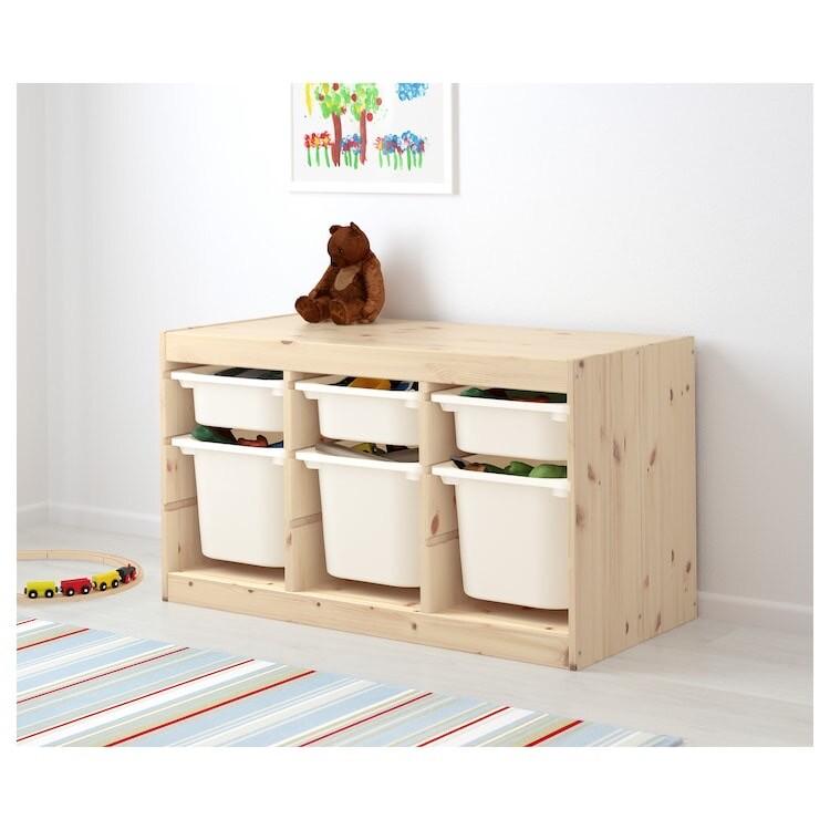 Combinación de almacenaje con cajas, pino tte claro/blanco94x44x52 cm