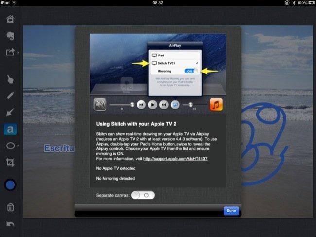 Compartiendo la pantalla mediante Airplay