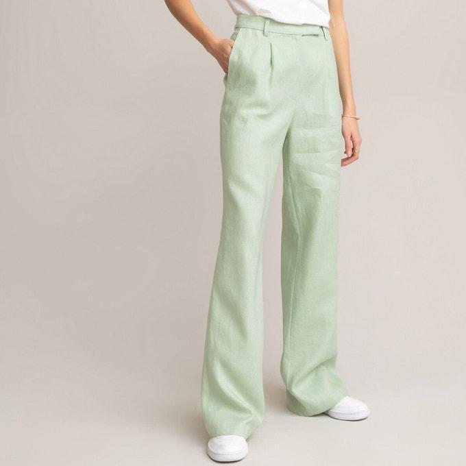 Pantalones de lino verde agua