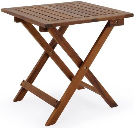 Mesa auxiliar de jardín madera de acacia