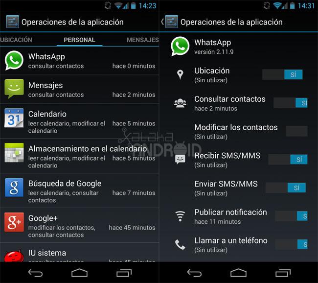 Administrador de permisos en Android 4.3