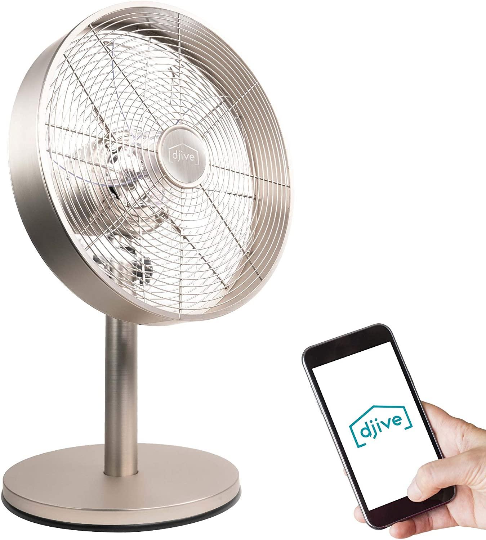 djive Flowmate Classic - Ventilador de mesa de 50 cm con aplicación y control por voz Alexa, ventilador de pie Smart Home con mando a distancia, temporizador, oscilación de 80°, 35 W, Plateado cálido