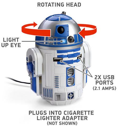 Cargador USB para coche R2D2