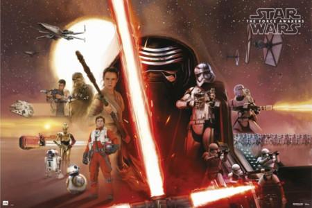 Cartel con los héroes y los villanos de Star Wars VII: El Despertar de la Fuerza