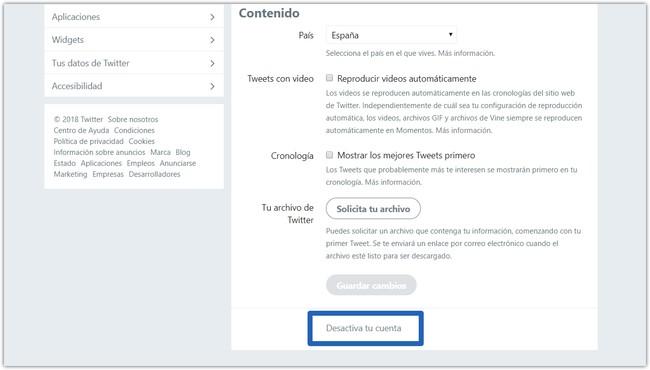 Desactivar Cuenta Twitter Perfil Configuracion