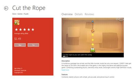 Página de App en Windows Store