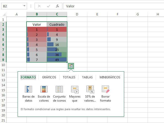 Excel 2013 análisis rápido