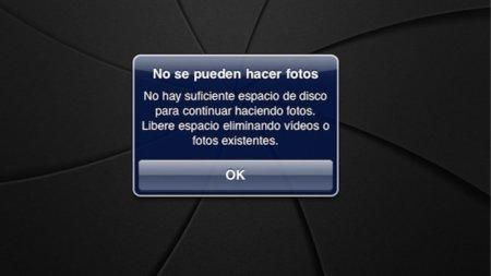 No se pueden hacer fotos en tu iPad 2 cuando no tienes espacio en disco