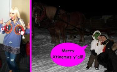 Con trineo y a lo loco: Christina Aguilera y su hijo felicitan la Navidad dando envidia