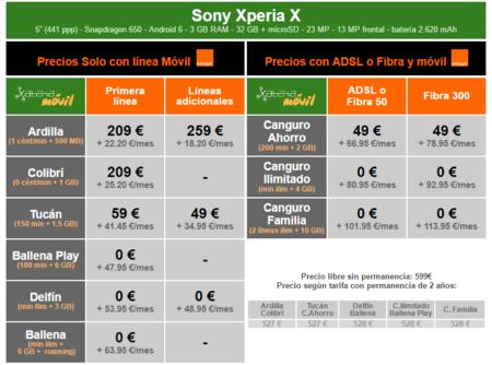 Precios Sony Xperia X Con Tarifas Orange