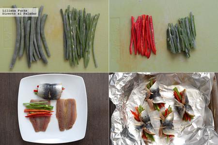 Rollitos de sardinas con Verduras. Pasos