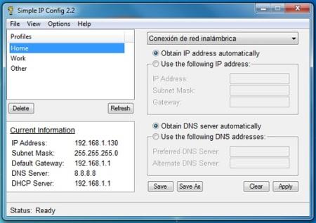 Simple IP Config: Cambiando la configuración de nuestro adaptador de red rápidamente