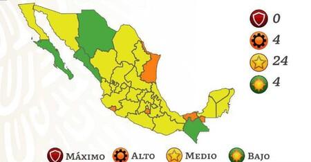 Casi todo México queda en amarillo por el semáforo COVID: tres cuartas partes del país ya están en nivel medio de riesgo