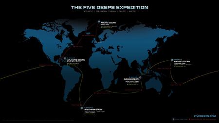 Los puntos más profundos de los océanos, según la expediciendo de Five Deeps.