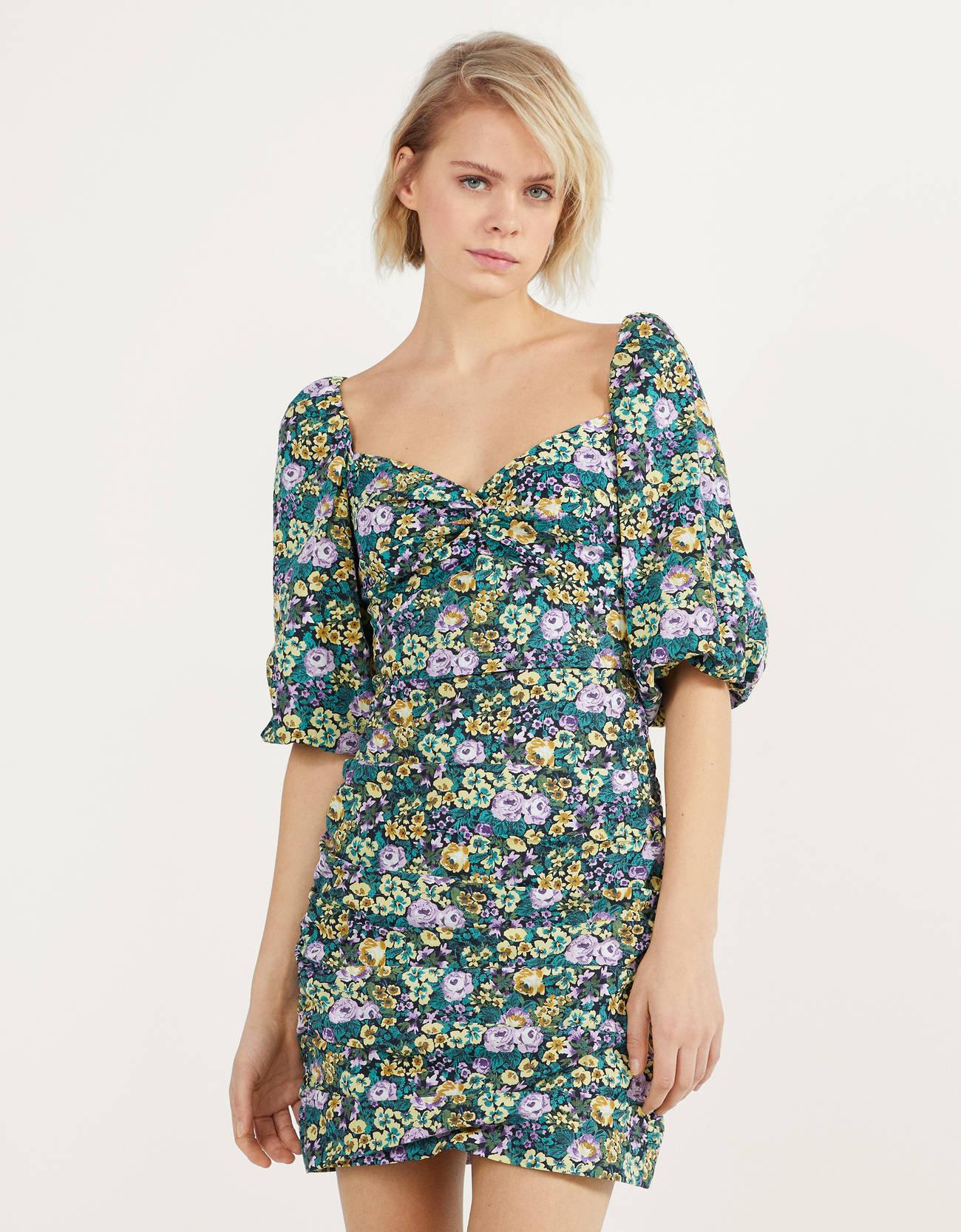 Mini vestido de flores verdes
