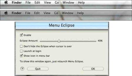 Menu Eclipse esconde la barra de menú de tu sistema