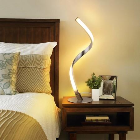 Albrillo Lámpara de Mesa LED Espiral - Lámpara de Escritorio Moderna de Aluminio, Lámpara de Cabecera Curvada, con Cable de 1,5 m, Iluminación Decorativa para Dormitorio, Sala de Estar, Blanco Cálido [Clase de eficiencia energética A+]