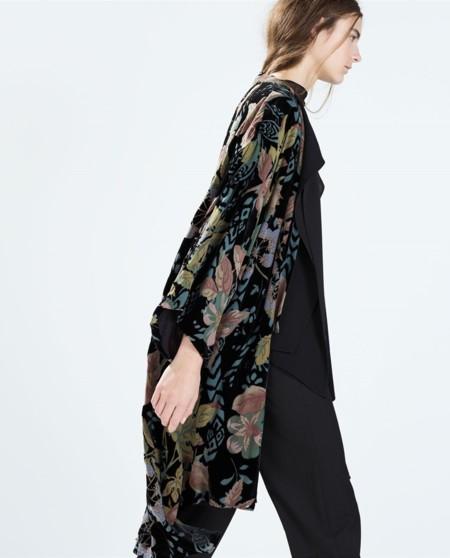 Kimono largo de terciopleo estampado