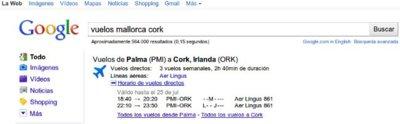 Google incorpora los horarios de los vuelos a sus resultados