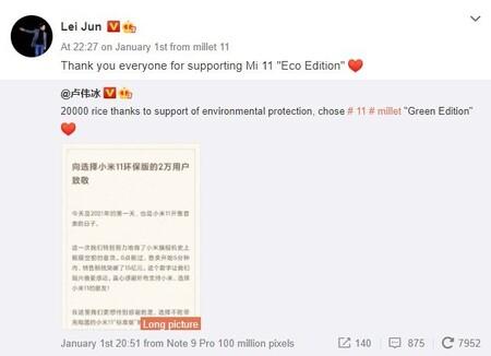 Xiaomi Mi 11 Ventas Green Edition Edicion Verde Sin Cargador 20000 Unidades Menos 6 Por Ciento