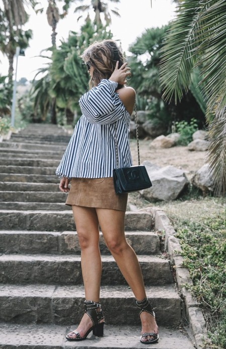 Chicwish Off The Shoulders Top Outfit Suede Skirt Free People Isabel Marant Sandals Chanel Vintage Bag Statement Earrings Boho Collage Vintage 37 1400x2100