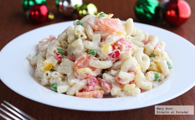 Ensalada navide a de pasta y pimientos receta - Platos sanos para cenar ...