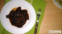 Bisteces de res en salsa de chile ancho. Receta
