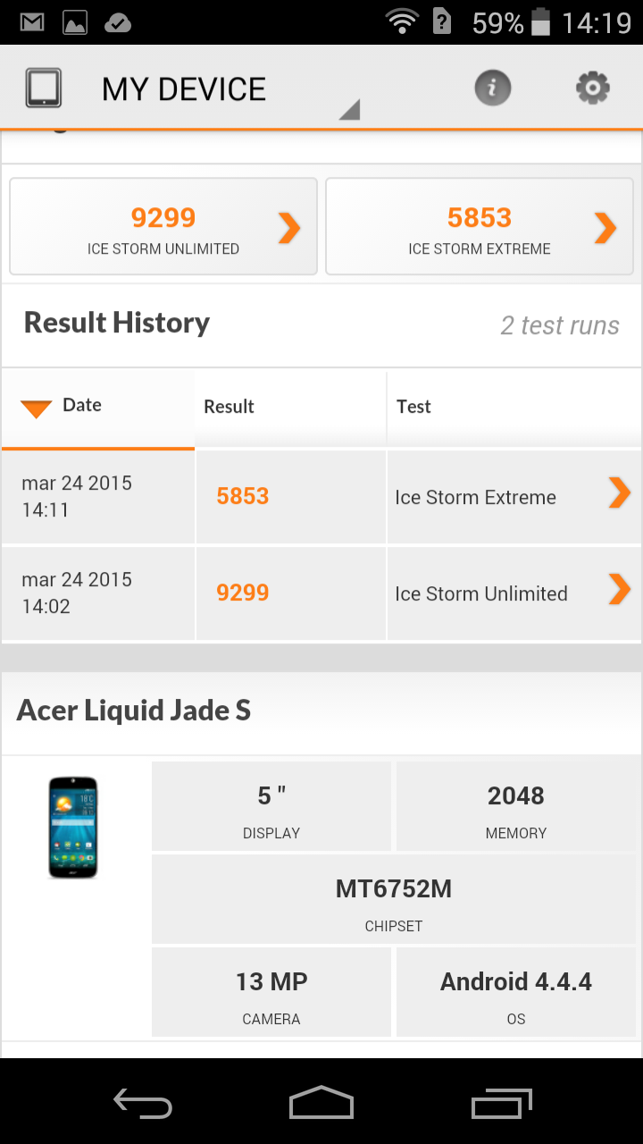 Benchmarks Acer Jade S