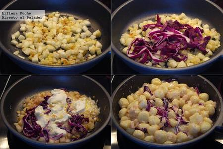 Ñoquis en salsa de mascarpone, pera y lombarda. Receta