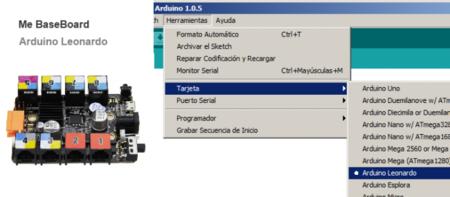 Como en nuestro kit Makeblock tenemos una placa basada en Arduino Leonardo, seleccionamos dicha opción