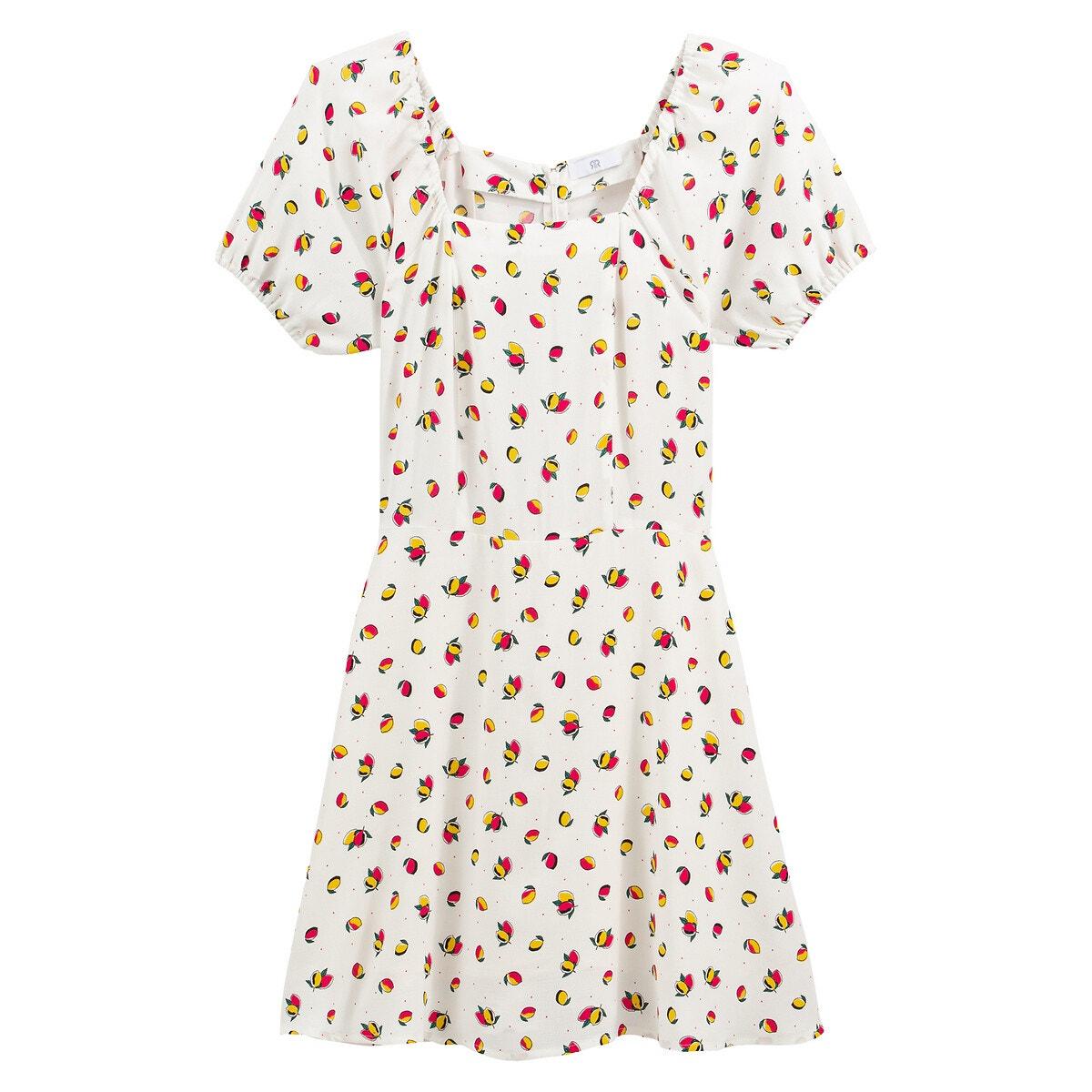 Apuesta por este vestido de verano ligero y ultrafemenino. Destaca con su original escote cuadrado, su escote a color y su manga corta ablusada. Llévala con unas sandalias en tu día a día, y para un look más chic con una chaquetita.