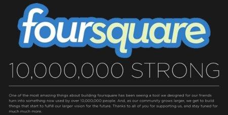 Foursquare supera los diez millones de usuarios en todo el mundo