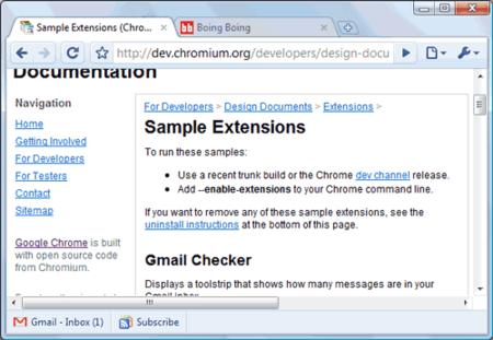 Más extensiones de prueba para Google Chrome