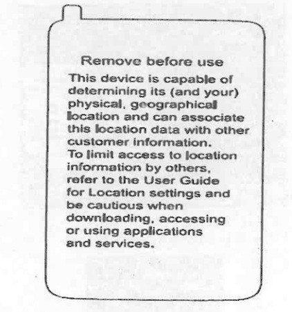 Pegatinas de aviso contra el registro de localizaciones