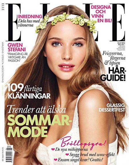 Maquillaje dulce y romántico en la portada de Elle Suecia