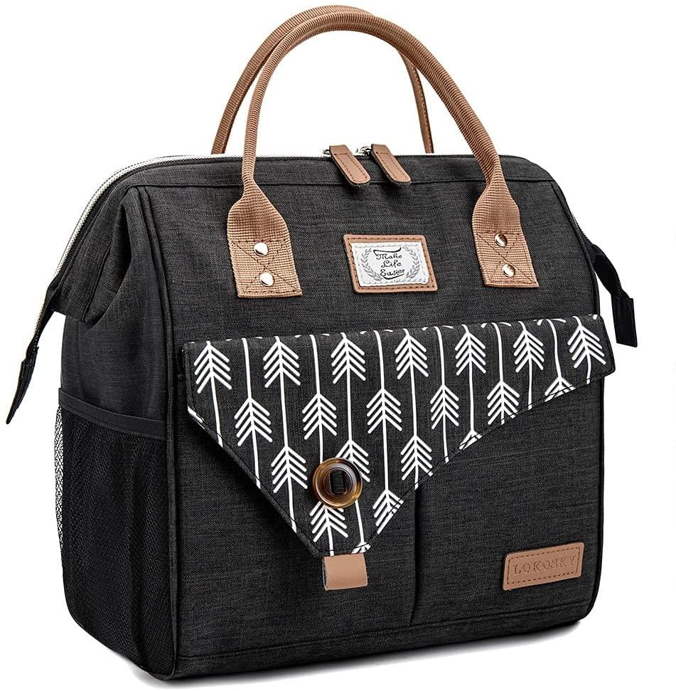 Lekesky Bolsa isotérmica para el almuerzo, para mujer, para el trabajo, excursiones, compras, picnic, 11 L, color negro